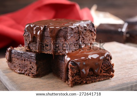 Delicious chocolate cakes on table close-up - stock photo