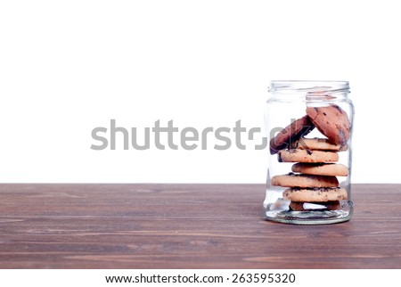 Delicious chocolate chip cookies on  board side view - stock photo