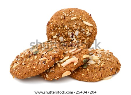 delicious chocolate chip cookies with nut isolated on white - stock photo