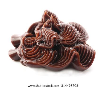 Delicious chocolate cream isolated on white - stock photo