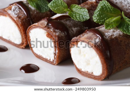 Delicious chocolate crepes with soft cheese and mint closeup on plate horizontal  - stock photo