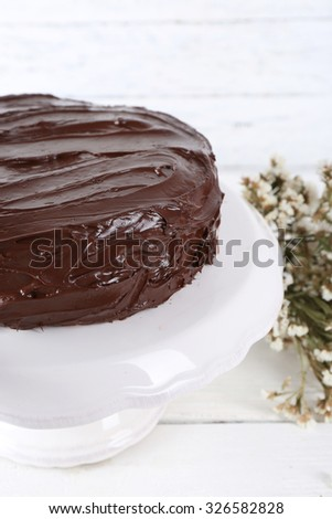 delicious chocolate dessert on white background