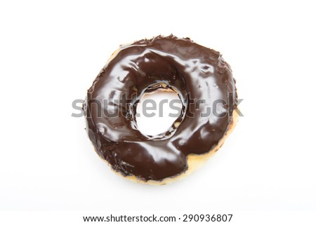 delicious chocolate dough nut on white background, dessert
