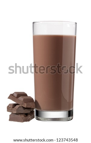 Delicious chocolate drink beside three chocolate chunks - stock photo