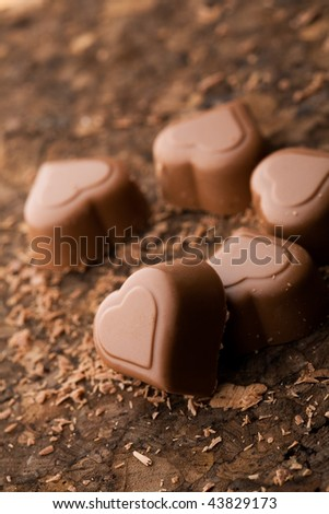 Delicious chocolate hearts for valentines day