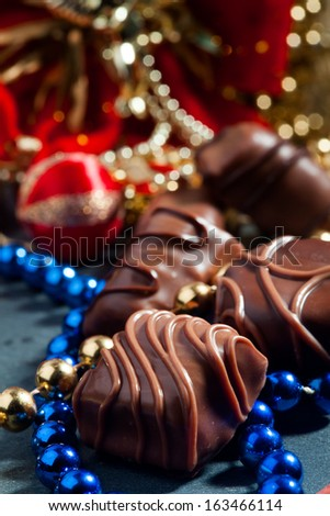 delicious chocolate in a Christmas scene - stock photo