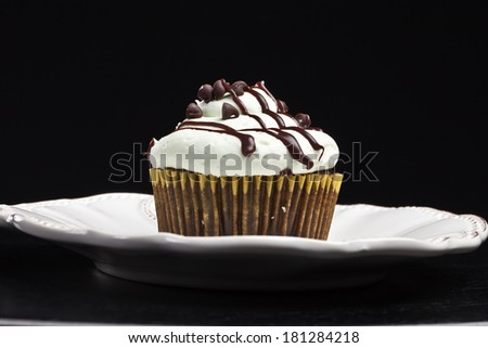 Delicious chocolate mint cupcake with miniature chocolate chips sprinkled on top with drizzled melted chocolate - horizontal view black background - stock photo