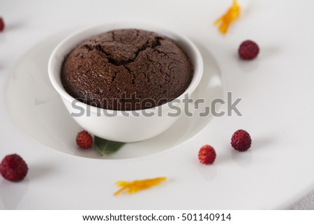Delicious chocolate muffin arranged with fruits