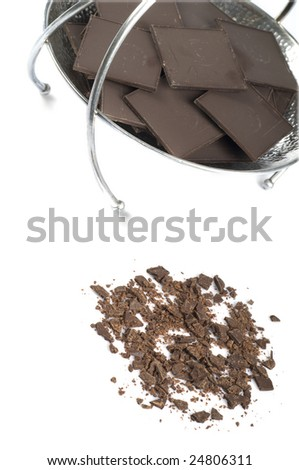 Delicious chocolate on white background - stock photo
