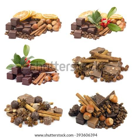 delicious chocolate on white background - stock photo
