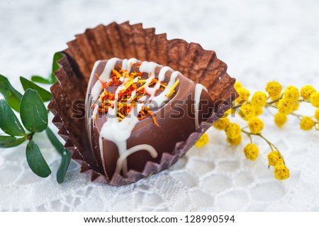 Delicious chocolate praline. Hand made candy. - stock photo