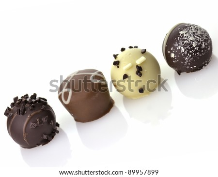 Delicious Chocolate Pralines ,Close Up,  On White Background - stock photo