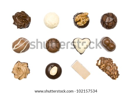 delicious chocolate pralines isolated on a white background - stock photo