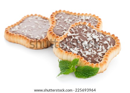 Delicious chocolate tart on white background.