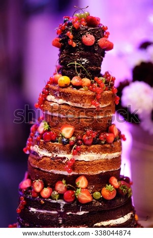 Delicious chocolate wedding cake decorated with fruits and berries - stock photo