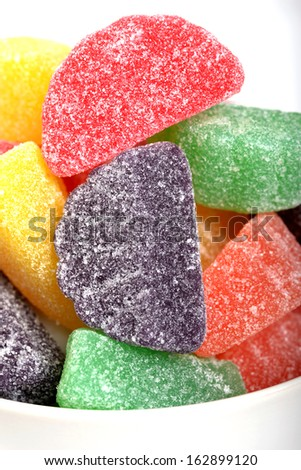 Delicious Christmas Gum Drop Candies in a white bowl - stock photo