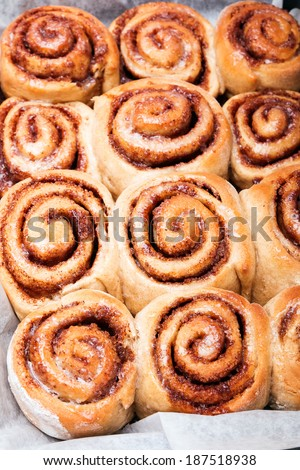 Delicious cinnamon buns close-up - stock photo