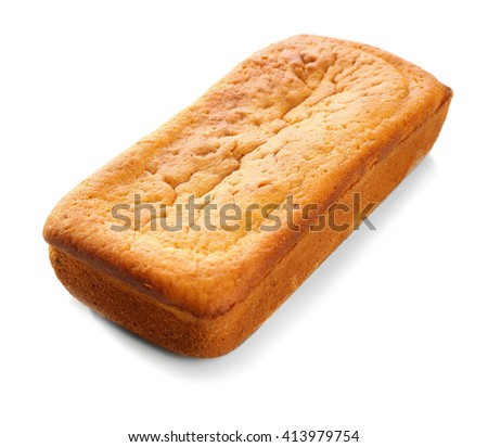 Delicious citrus cake loaf  on white background