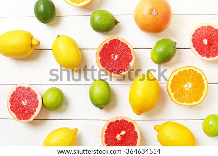 Delicious citrus fruits on the table