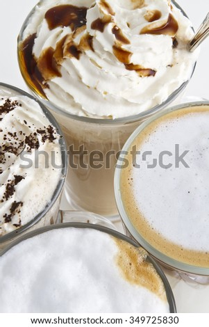 delicious coffee variaties top view. different coffee types on white background  - stock photo