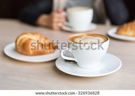 delicious coffee with croissant - stock photo
