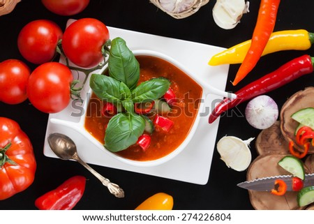 Delicious cold Gazpacho soup, top view - stock photo