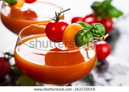 Delicious cold Tomato-Melon Gazpacho soup - stock photo