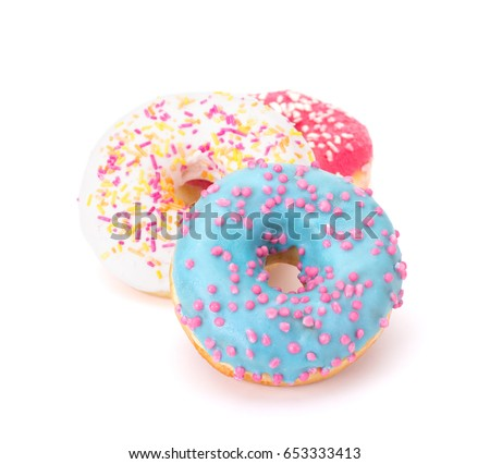 Delicious colorful donuts isolated on white background