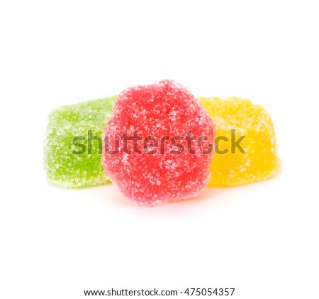 Delicious colorful marmalade pieces isolated on white background