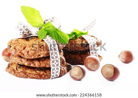 delicious cookies with hazelnuts and mint