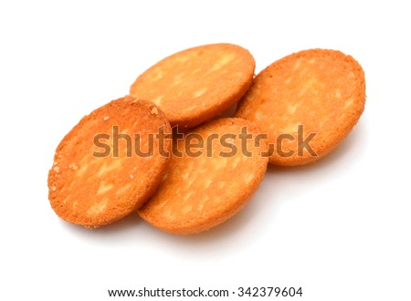 Delicious cracker on a white background - stock photo