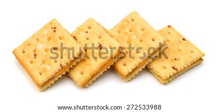 Delicious crackers with cheese on white background  - stock photo