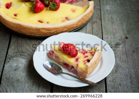Delicious creamy strawberry cake, selective focus, space for text - stock photo