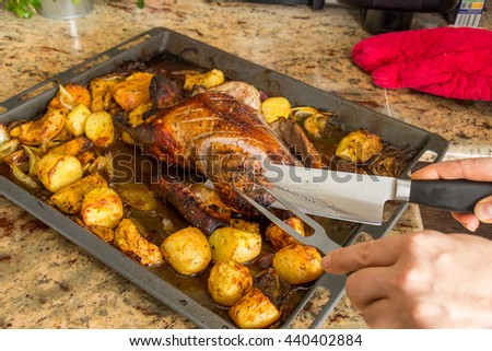 Delicious crispy browned roast duck with potatoes and traditional orange and apple trimmings in an oven roasting pan, close up view - stock photo