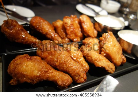Delicious Crispy Fried Chicken in Plate - stock photo