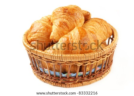 Delicious croissants in a basket
