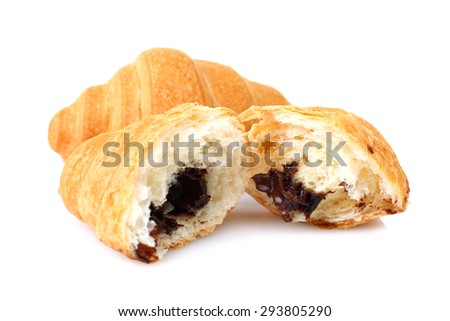 Delicious croissants isolated - stock photo