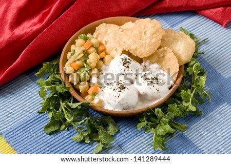 Delicious curd panipuri, Indian street chaat - stock photo