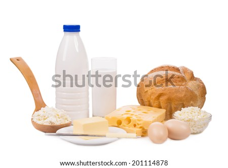 Delicious dairy products. Isolated on a white background.