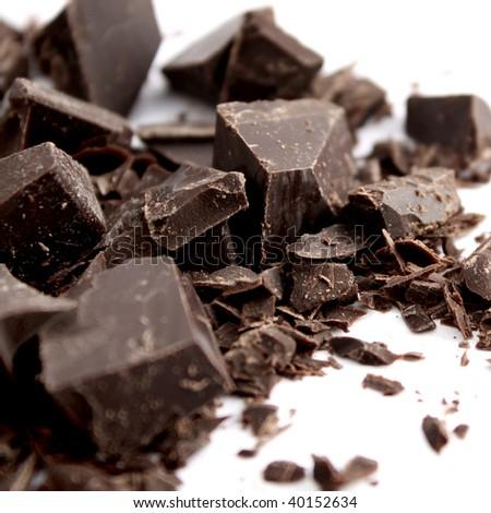 Delicious dark chocolate bar isolated - stock photo