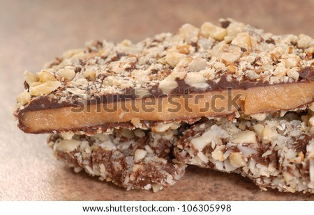 Delicious Dark Chocolate English Toffee with chopped pecan nuts - stock photo
