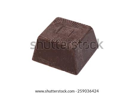 Delicious dark chocolate isolated - stock photo