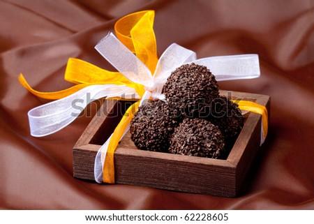Delicious dark chocolate pralines - stock photo
