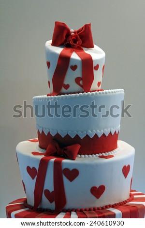 Delicious decorated wedding cake - stock photo