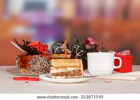 Delicious Dessert cake on the table - stock photo