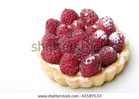 Delicious dessert fresh raspberry fruit tart pastry isolated - stock photo