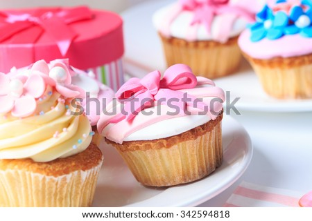 delicious dessert table served for big party - stock photo