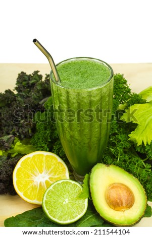 Delicious detox, healthy raw green vegetable smoothie with copy-space - stock photo