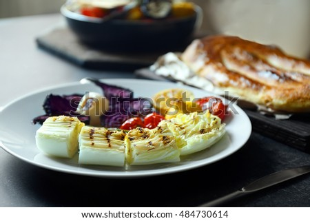 Delicious dish of grilled vegetables