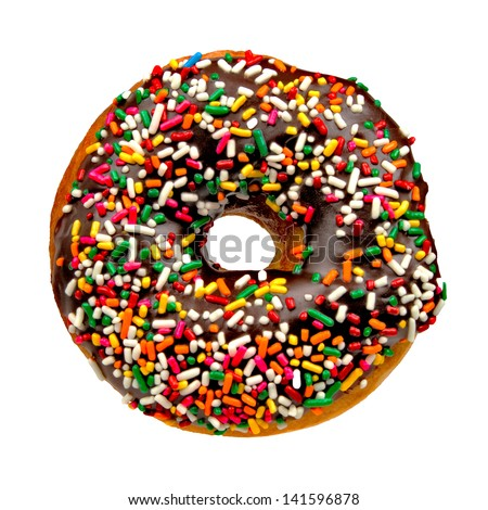 Delicious Donut with Sprinkles Isolated on White Background - stock photo